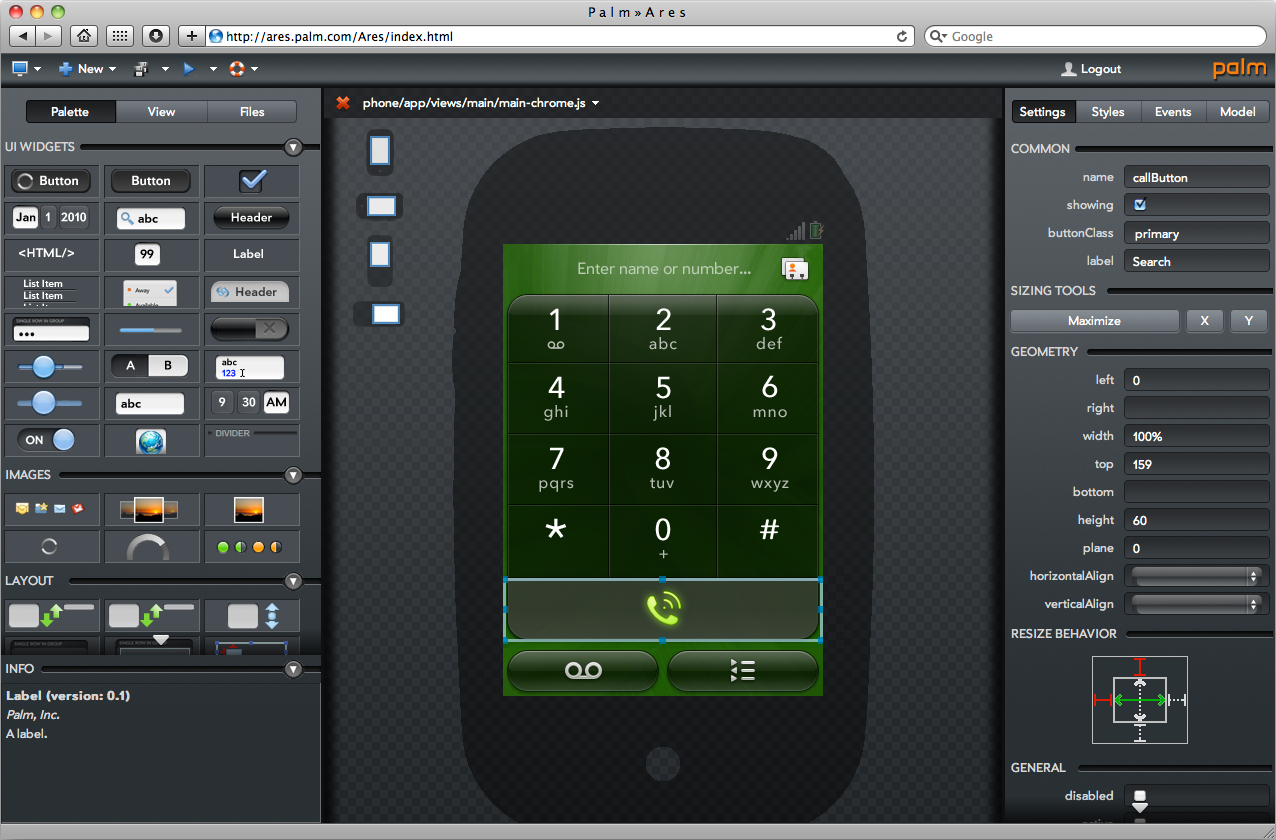 Ares - Web IDE for Palm WebOS